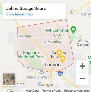 John's Garage Doors Service Area Map of Tucson, AZ